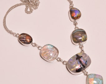dichroic glass,handmade jewelry  .925 STERLING SILVER Necklace AA 0001