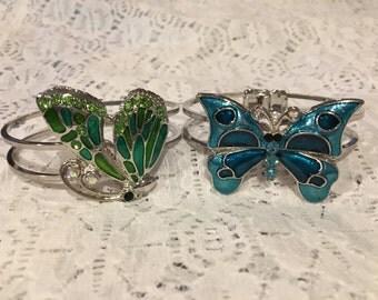 Butterfly Crystal and Enamel Cuff Bracelet Set