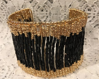 Glam Black and Gold Seed Bead Cuff Bracelet