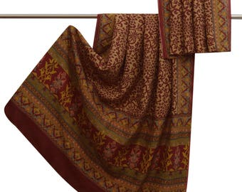 Indian Vintage Art Silk Saree Floral Printed Brown Dress Making Sarong Sari Wrap Craft Used Fabric 5 YD VA15195