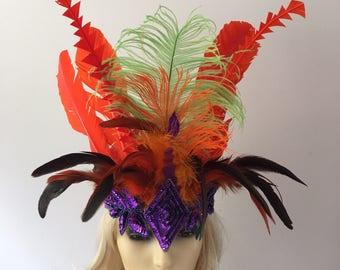Festival Orange Purple Lime Green Feather Headband Headdress  Music Concert Hippyfeather
