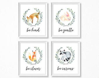 PRINTABLE, Woodland Nursery Art, Woodland Animals Nursery Prints, INSTANT DOWNLOAD, Deer Fox Bunny Raccoon Watercolor Woodland Set of 4