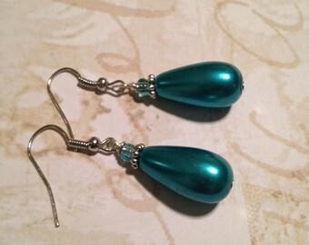 Aqua blue tear drop dangle earrings