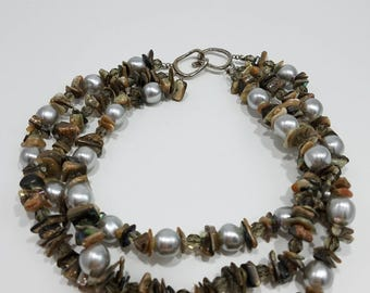 Absolutely Stunning Les Bernard Triple Strand Necklace with MOP & Faux Pearls