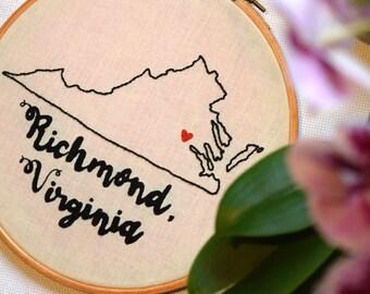 Hand Embroidered Richmond, Virginia Hoop Art