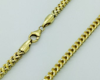 """10K SOLID YELLOW GOLD Hollow Franco Box Necklace Chain 4.0mm 28"""" inches Diamond Cut  - Link Men's Women's #DD23"""