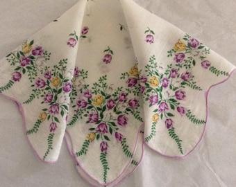 Vintage Handkerchief / Purple Tulips