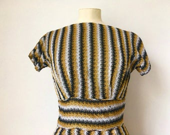 Stunning Striped Gold Lurex Vintage 1950s Wiggle Dress
