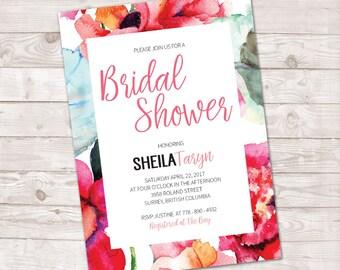 Watercolor Bridal Shower Invitation, Watercolor Floral Invitation, Watercolor flowers, Spring Invite, bridal shower invite, Wedding shower