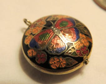 Vintage Cloisonne Pendant, Butterfly and Flowers