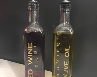 Personalized oil and vinegar bottles
