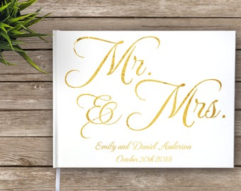 Gold Foil Wedding Guest Book, Mr. and Mrs., Mr and Mrs, Custom Guest Book, Personalized Guest Book, Real Gold Foil, Wedding Journal