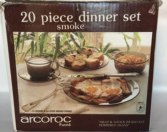 Vintage 1970s Boxed/Complete/Unused Arcoroc Smoked Glass Dinner Set