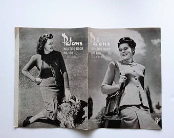Patons Knitting Book No. 188, O.S Sizes, original 1940s vintage knitting pattern book for women big sizes