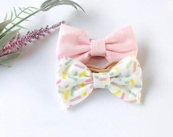 Baby Girl hair bow headband set - nylon - clips - infant / toddler / child bows - sprinkles - light pink