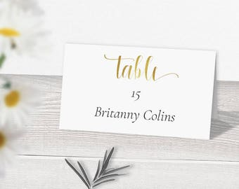 SALE 25 OFF Gold Wedding Place Card Template Download Printable Cards