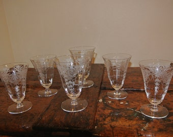 6 pc. Etched Drinking Glasses