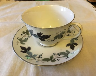 Vintage Royal Doulton Burgundy T.C.1001 - Footed Tea Cup and Saucer with silver trim