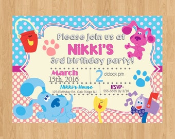 Digital file|printed file|blues clues|blues clues party|blues clues invitation|magenta invitation|Blues Clues Invite|Blue Clues Birthday|