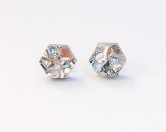 Hexagon Stud Earrings in Silver Glitter