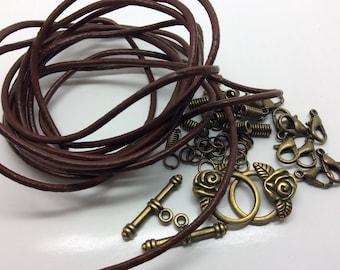 Brown Leather Cord Necklace Kit, Make your own with 2m of 2mm cord and Antique Bronze Findings