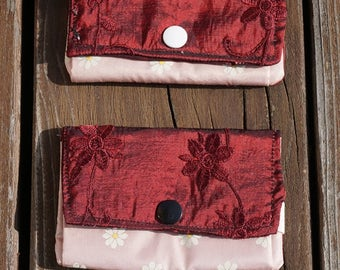 Mini purse made of silk for card and money