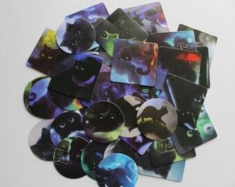 Black Cat Label Stickers Box