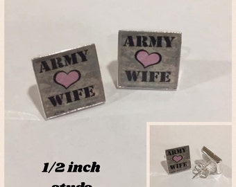 Army Wife Stud Earrings