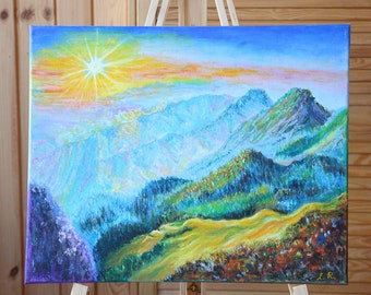 Original Oil Painting on Canvas. Landscape painting. Mountain Painting. Contemporary Fine Art.