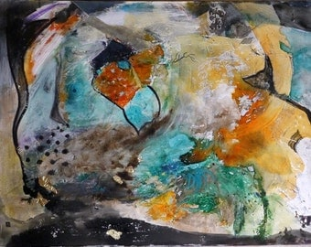"""Painting Abstract Turquoise, Art Abstract, """"the world of silence"""", Contemporary Art Original, Abstract art, Contemporary"""