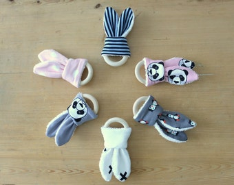 Teething ring in cotton and sponge