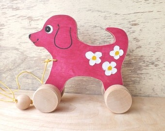 Wood pull toy Dog in Pink / Purple, hand cut wooden toys for kids toddlers, cheerful personalized hand-painting pull along toy dog on wheels