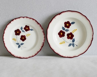 Ceramic plates. Dinnerware Set. 2 Pcs. Dinner and Dessert Plates. Salins. France. Musette. Vintage kitchen , C265