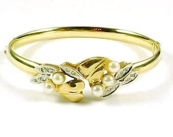 Cultured Pearl Diamond 14k Gold Bangle Bracelet