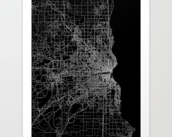 Milwaukee map poster, milwaukee map print, map of milwaukee, milwaukee map art poster, black and white milwaukee print