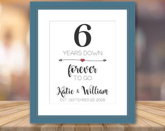 6 Year Anniversary Gift Print Artwork Personalized Cotton Art Print Custom Wall Art Cotton Fabric Unique Gifts Customized Presents