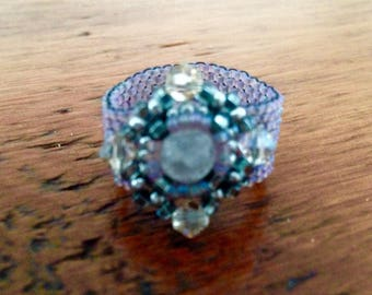 Beaded Component Ring, Sparkling Ring, Peyote Ring, Purple Ring, Beaded Ring, Unique Ring