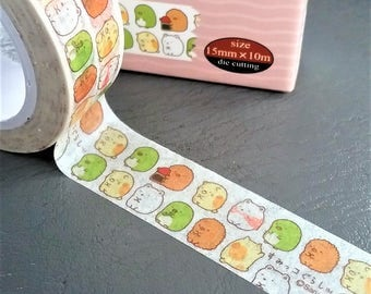 Cute Kawaii Japanese Washi Tape 15mm x 10m. Sumikko Gurashi Washi tape.