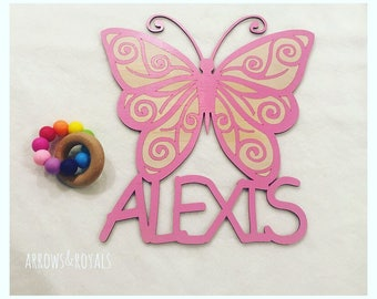 Personalised Butterfly name plaques