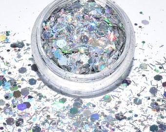 100 g / 93,33Euro - bag glitter mix powder glitter sequins Hexagon Silver 3 g tinker holographic new