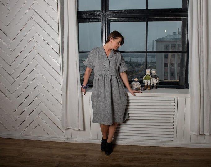 SALE Grey linen dress, Linen dress, Grey melange dress, Linen all seson dress, Womens dress, Long linen dress, Dress,