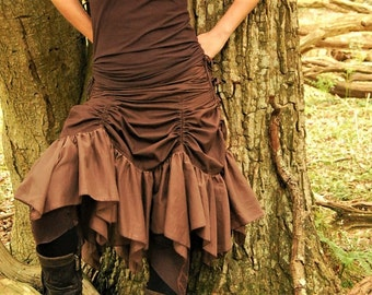 Brown boho skirt, Bustle style, Steampunk skirts, Funky fashion, Goa clothes for her, Gypsy clothing for women, Festival chic, Hippie wear