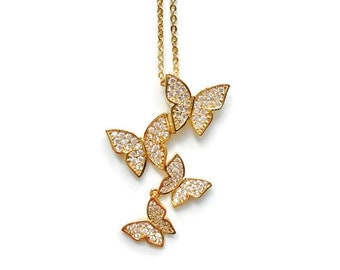Butterfly Jewelry,CZ Pendant Necklace,Wedding Jewelry,Bridesmaid Jewelry,Gold Jewelry, Dainty Necklace,Cubic Zirconia Necklace, Gift For Her