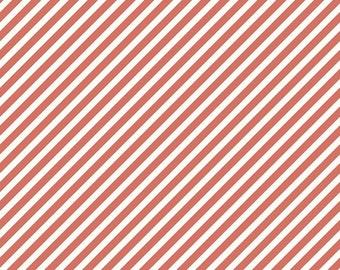Coral Stripe Fabric/ Pink Stripe/ On Trend Stripe/ Coral and White/ Pink and White Stripe/ Riley Blake Fabric/ On Trend/ Striped Fabric
