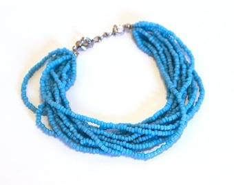 Turquoise Color Beaded Multi Strand Mayan Bracelet - Natural Artist