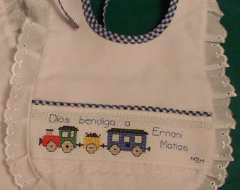 Personalized embroidery baby bib / Baby bibs / Baby gift /  hand embroidery by cross-stitch