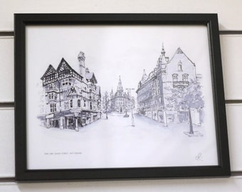 King and Queen Street, Nottingham Watercolour Giclee Print local city souvenir present gift birthday home moving midlands uk