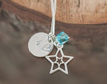 Personalized Charm Necklace Monogram Jewelry Initial Charm Birthday Gift for Her Best Friend Gift Idea Hand Stamped Jewelry Swarovski Charm