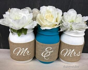 Mr and Mrs Mason Jars // Wedding Centerpieces // Mason Jar Home Decor // Mason Jar Centerpieces // Burlap Mason Jars // Cabin Decor