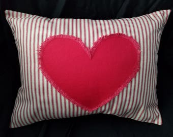 Heart pillow, red and white ticking, red and white pillow, decorative pillow, Valentine's Day pillow